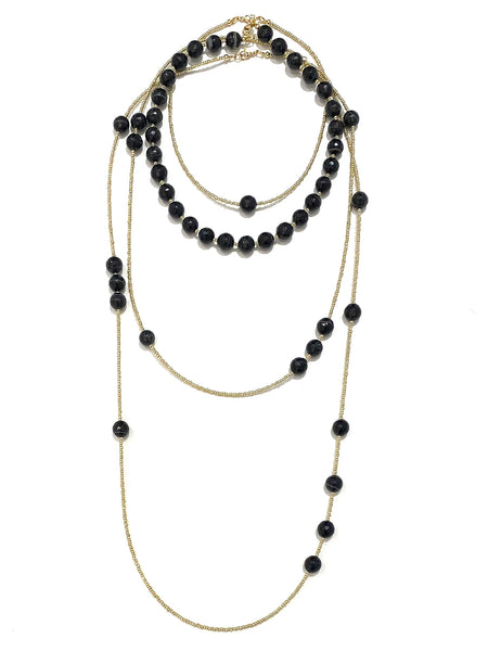 HC DESIGNS- 4 Layer Black Agate Necklace Set