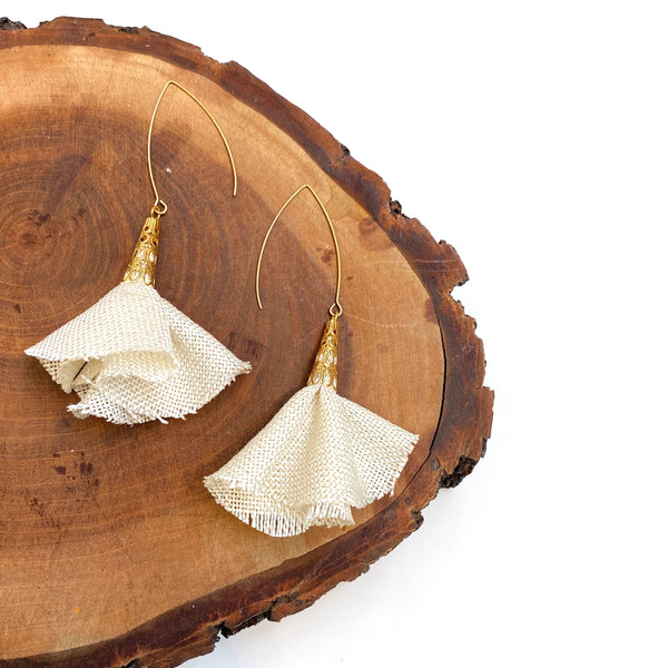 Sulyvette Diaz- Bell Earrings - White Burlap
