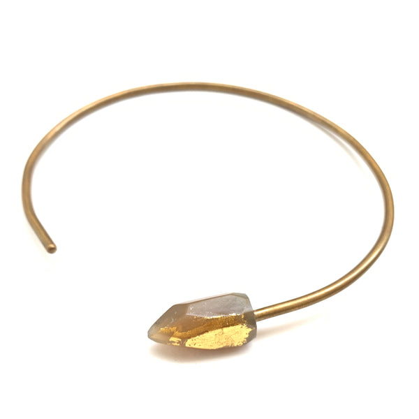 KIMPANDE- HORN CHOKER WITH 24k GOLD DETAIL
