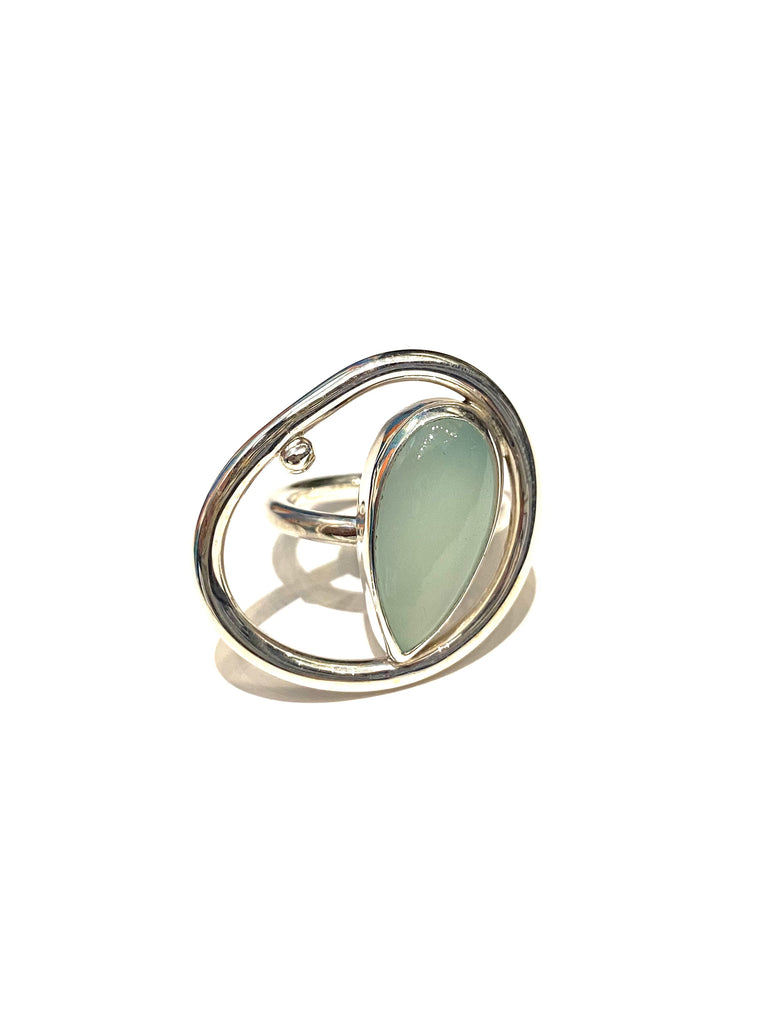 ALEISHLA- Silver Dot Ring - Chalcedony