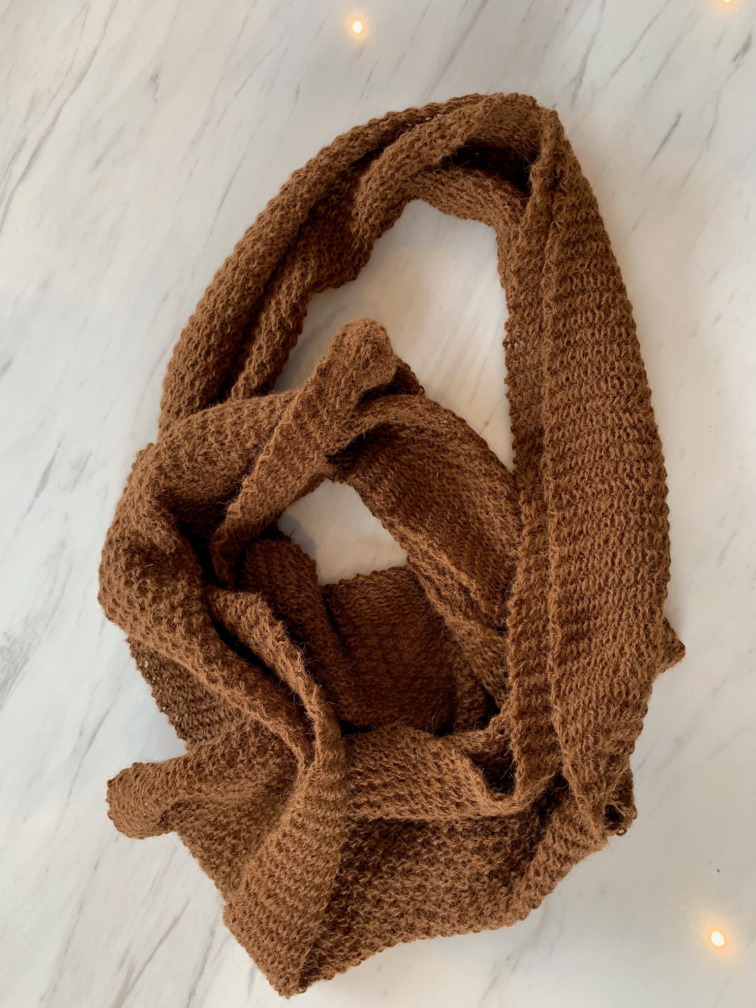 Dark Brown Alpaca Infinity Scarf