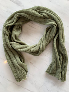 olive green scarf warm and functional merino