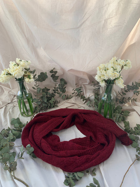 silky cherry red alpaca scarf