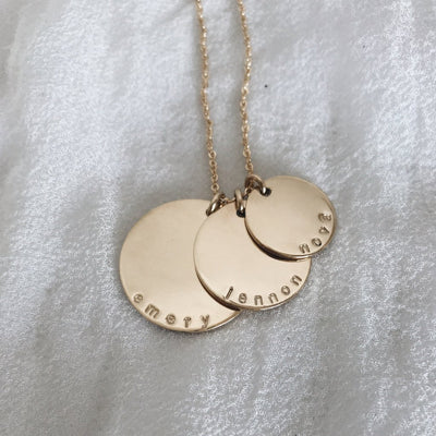 Personalized Gold Disc Necklace With Name - Nova