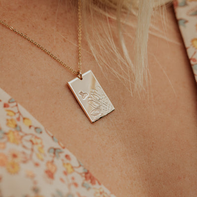 Sunflower Rectangle Necklace