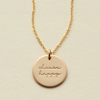 Choose Happy Disc Necklace- 5/8