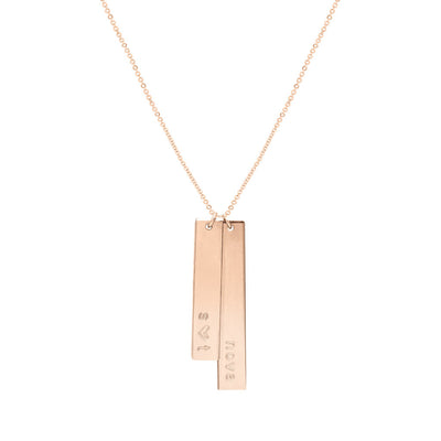 Vertical Bar Necklace - Personalized Hand Stamped
