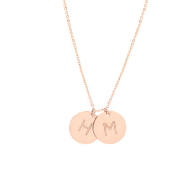 Personalized Disc Necklace Gold - Double Disc