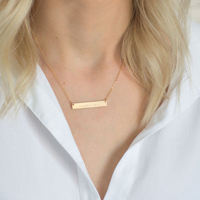 Personalized Roman Numerals Gold Bar Necklace