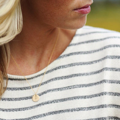 Personalized Gold Disc Necklace With Initial