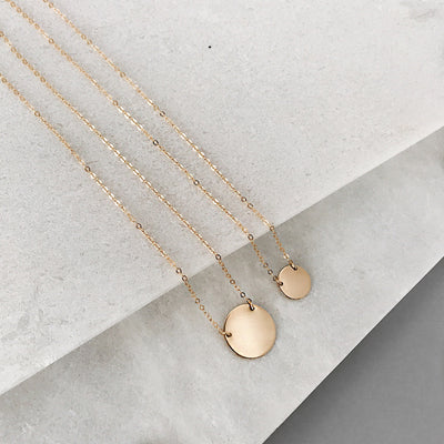 Personalized Mini Gold Disc Necklace - Zola