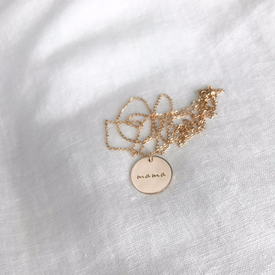 Mama Gold Disc Necklace - Gift For Mom