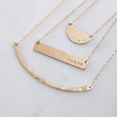 Hammered Half Moon Disc Necklace