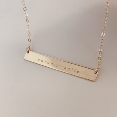 Everly - Hand Stamped Gold Bar Necklace
