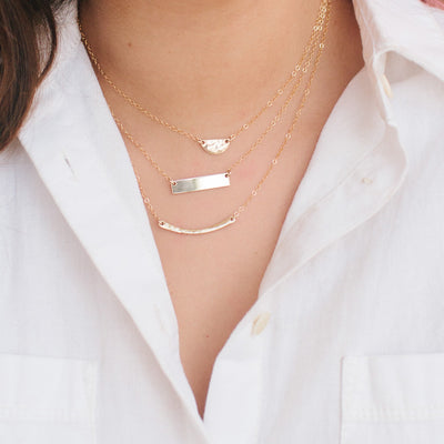 Hammered Half Moon Gold Necklace - Women