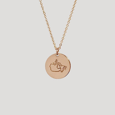 Canada Passport Stamp Disc Necklace- 1/2""