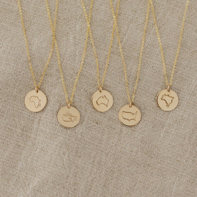 Passport Stamp Disc Necklace- 1/2