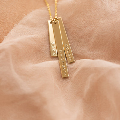 Skinny Vertical Bar Necklace - Triple