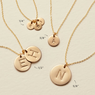 Initial Disc Necklace - 1/4