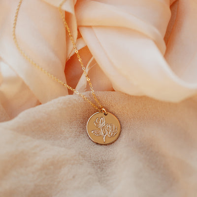 Magnolia Flower Disc Necklace - 5/8