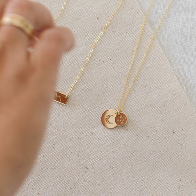 Moon and Stars Disc Necklace - 1/2