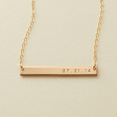 Skinny Date Bar Necklace