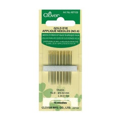 Clover - Gold Eye Applique Needles, Size 9 - 15 pack