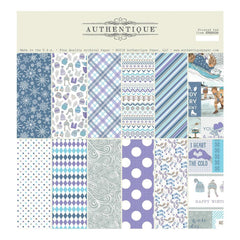 Authentique Double-Sided Cardstock Pad 12 inch X12 inch 18 pack - Frosted, 6 Designs/3 Each