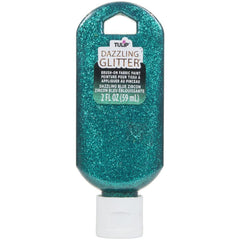 Tulip Dazzling Glitter Brush-On Fabric Paint 2oz - Blue Zircon