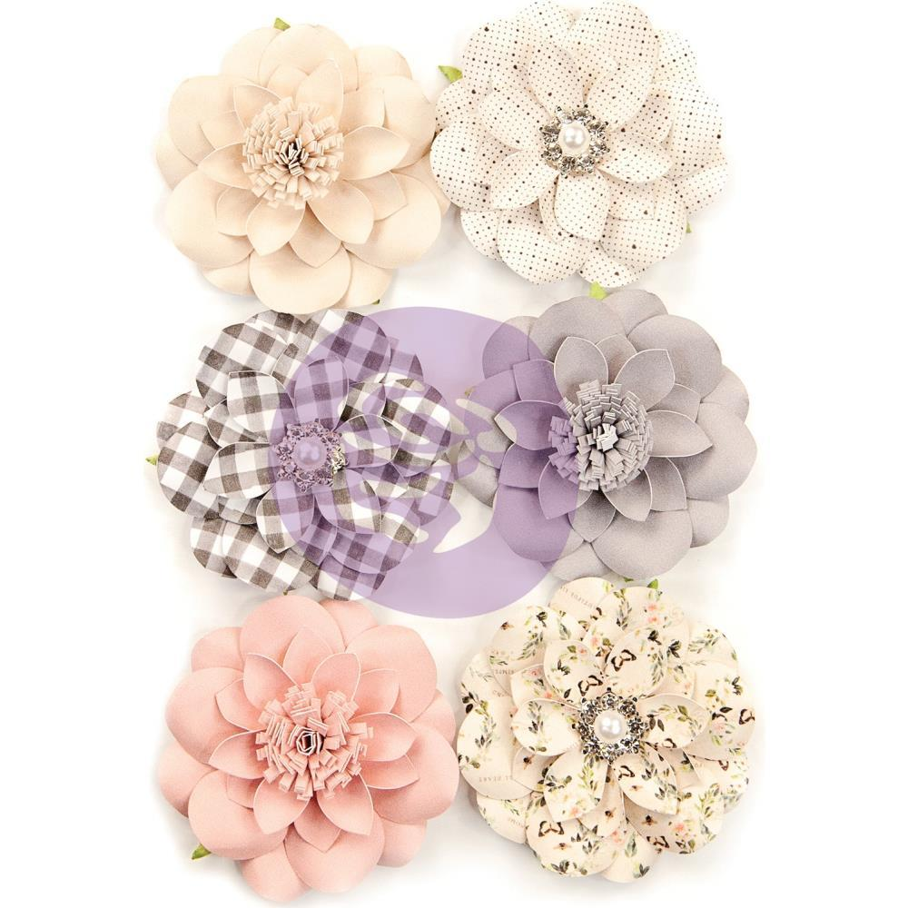 Prima Marketing Spring Farmhouse Paper Flowers 6 pack - Blessings
