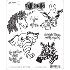 Dyan Reaveleys Dylusions Cling Stamp Collections 8.5 inch X7 inch - I Believe In Unicorns