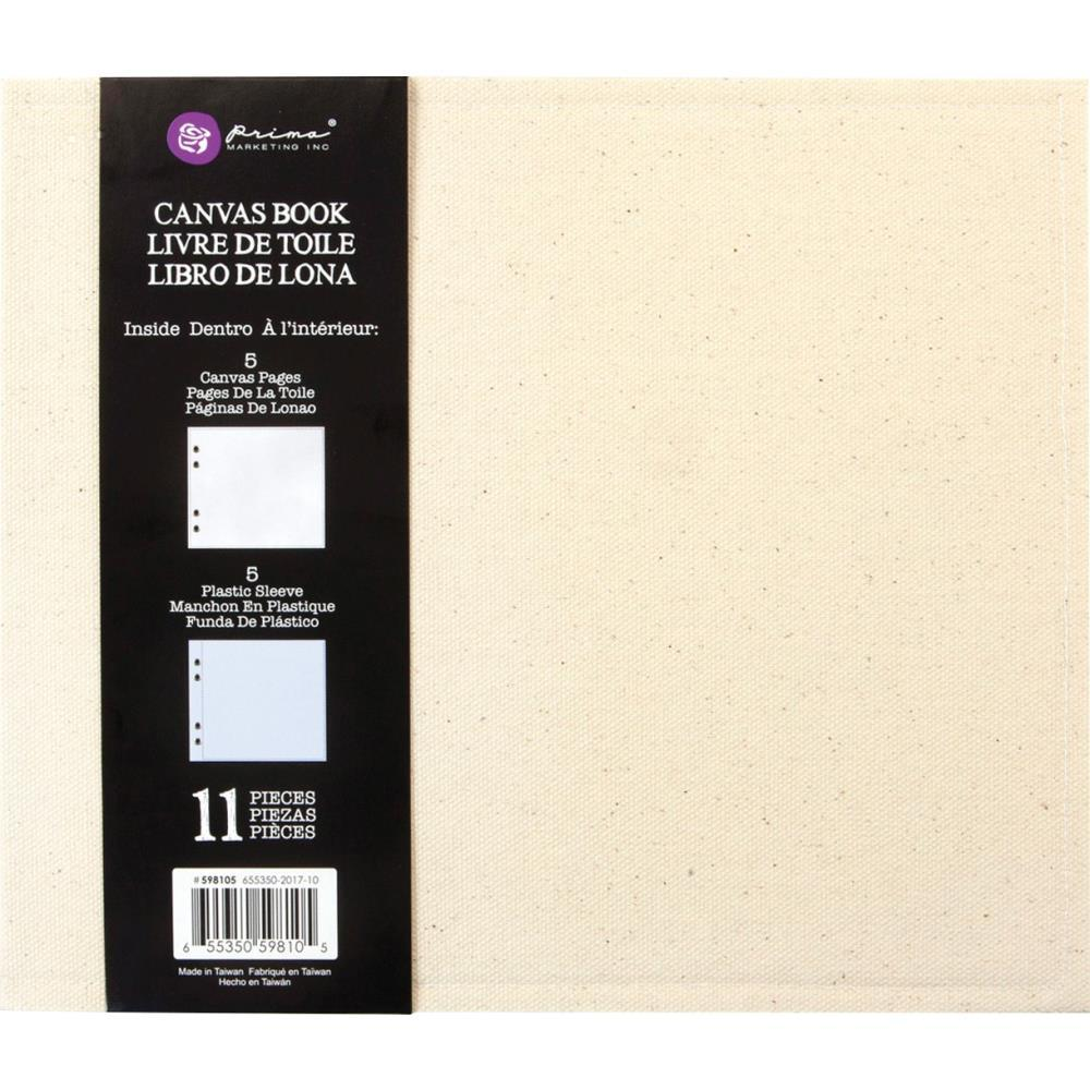 Prima Mixed Media Canvas Book 9 inch X7.5 inch X2 inch (5) Canvas Pages & (5) Plastic Sleeves