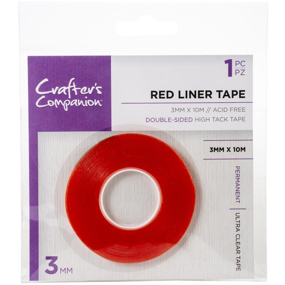Crafter's Companion Red Liner Tape 3mm X10m Clear