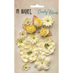 49 and Market Flower Embellishments - Country Blooms - Cream 15 Pack
