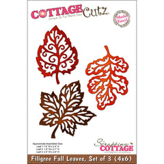 CottageCutz Dies - Filigree Fall Leaves 1.8 inchX2.4 inch,2.5 inchX2.6 inch