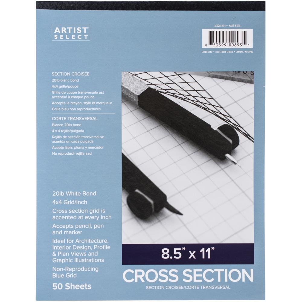Artist Select Cross Section Paper Pad 8.5in x 11in 4in x 4in Grid 50 Sheets