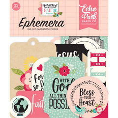 Echo Park Cardstock Ephemera 33 pack - Icons, Forward With Faith