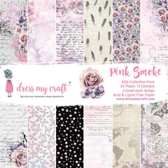 Dress My Crafts - Single-Sided Paper Pad 6 inch X6 inch - 24 pack - Pink Smoke, 12 Designs/2 Each