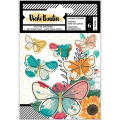 Vicki Boutin Wildflower & Honey Layered Stickers 6/Pkg Vellum Butterflies W/Gold Foil Accents