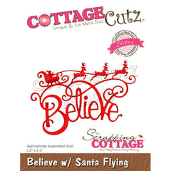 CottageCutz Dies - Believe with Santa Flying, 3.2 inch X2.3 inch