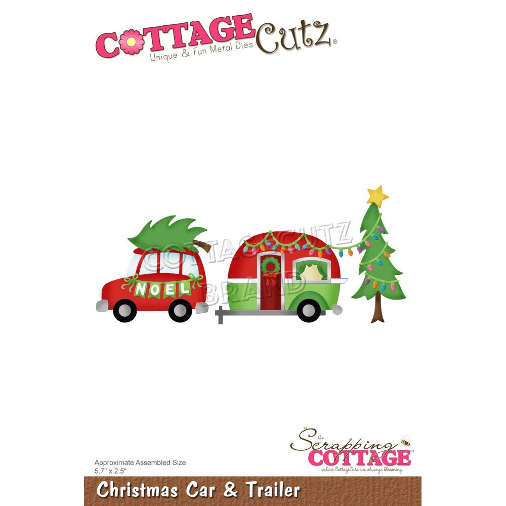 CottageCutz Dies - Christmas Car & Trailer, 5.7 inch X2.5 inch