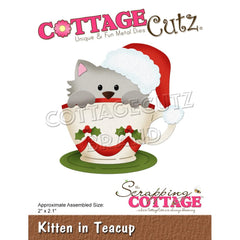 CottageCutz Dies - Kitten In Teacup, 2 inch X2.1 inch