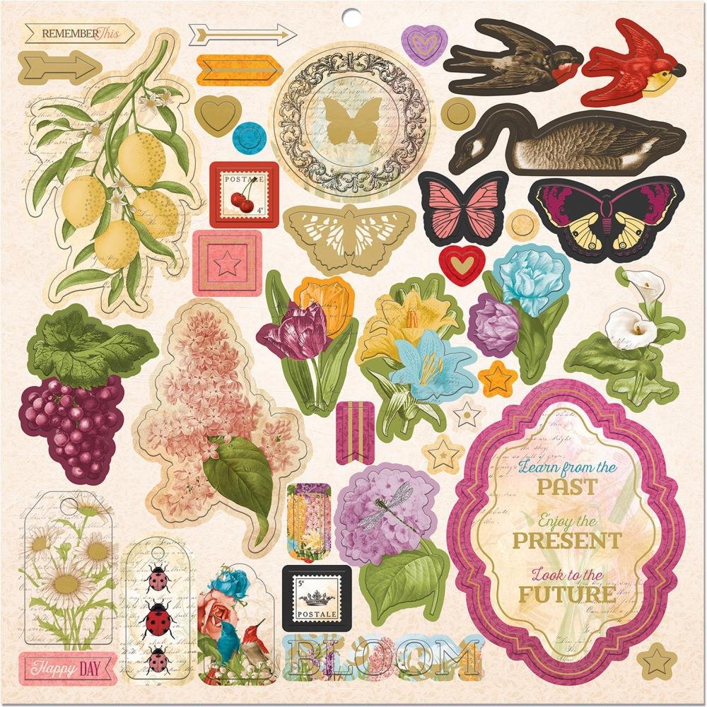 BoBunny - Time & Place Collection - 12 x 12 Chipboard Stickers with Gold Matte Foil, 51 pieces set