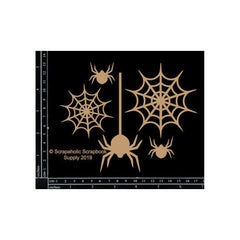 Scrapaholics - Laser Cut Chipboard 1.8mm Thick Spider Webs, 5 pack 1 inch -4.5 inch