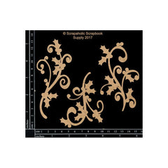 Scrapaholics - Laser Cut Chipboard 1.8mm Thick Holly Flourishes, 3 pack 3.25 inch -5 inch