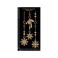 Scrapaholics - Laser Cut Chipboard 1.8mm Thick Snowflake Dangles, 3 pack 8-10 inch X2 inch