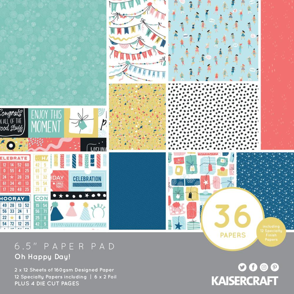 Kaisercraft - Oh Happy Day! Collection - Paper Pack 6.5in x 6.5in 36 per pack