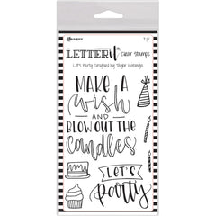 Ranger Letter It Clear Stamp Set 4 inch X6 inch Lets Party