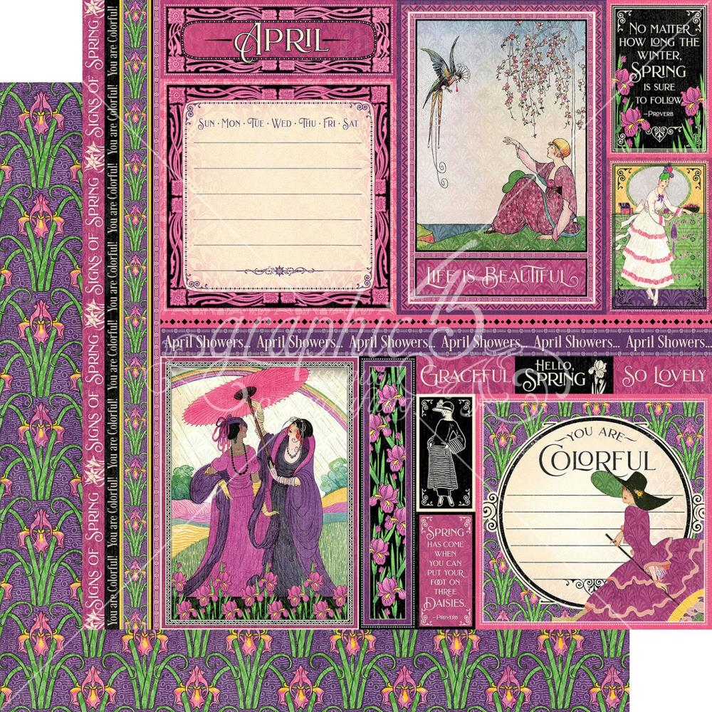 Graphic 45 - Fashion Forward Double-Sided Cardstock 12in x 12in - April