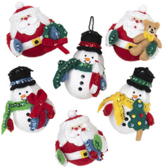 Bucilla Felt Ornaments Applique Kit Set Of 6 Roly Poly Christmas